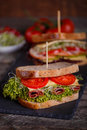 Two Sandwiches with cereals bread with lettuce,ham Royalty Free Stock Photo