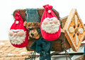 Two santa decoration in christmas markt Royalty Free Stock Photography