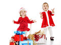 Two santa helpers happy over the white Stock Photography