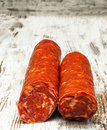 Two sausage casings Stock Image