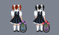 Two schoolgirls little with a big backpack and flowers drawing back to school Royalty Free Stock Images