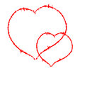 Two Scrawled Hearts Royalty Free Stock Photos