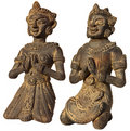 Two Sculptures of Burma (Prayer) on white Stock Photos