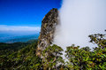 Two season cliff pha ngaem or depend at chaingmai thailand normally this must be have fog one side and clear sky one side Royalty Free Stock Photo