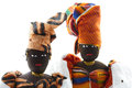 Two senegal dolls with headdresses isolated Stock Image