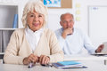 Two seniors at university are learninig of the third age Royalty Free Stock Photo
