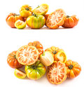 Two sets of compositions of lycopersicum type tomatoes Royalty Free Stock Photo