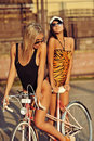 Two sexy girlfriends on a vintage bike Royalty Free Stock Photo