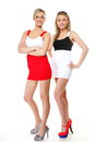 Two sexy women wearing mini skirts Royalty Free Stock Photo
