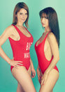 Two sexy women wearing a red bikini Royalty Free Stock Photo