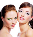 Two sexy young women Stock Photos