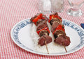 Two shish kabobs Royalty Free Stock Photo