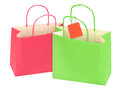 Two shopping bags isolated white background Royalty Free Stock Photography