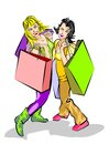 Two Shopping girls Royalty Free Stock Images