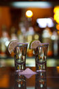 Two shots of tequila with lime and salt Royalty Free Stock Image