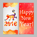 Two sides vertical flyer. Triangle Christmas pattern of monkey and background. Symbol of New Year 2016 - red monkey.