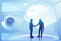 Two Silhouette Businessman Hand Shake Over Abstract Finance Diagram Background, Business Man Handshake Agreement Concept Royalty Free Stock Photo