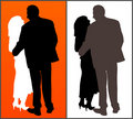 Two silhouettes of  a couple Stock Images