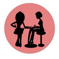 Two silhouettes of woman in manicure process. Luxury design