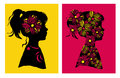 Two silhouttes of girl with flower pattern. Vector illustration. Design elements. Royalty Free Stock Photo