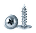 Two silver screws toned grey Royalty Free Stock Photo