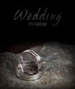 Two silver wedding rings on rock Royalty Free Stock Photos