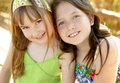 Two sister happy together in outdoors Royalty Free Stock Photography