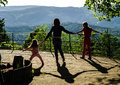 Two sisters with their mother on view point in alsace Stock Photos