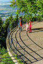 Two sisters with their mother on view point in alsace Royalty Free Stock Images