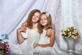 Two sisters in white dresses with flowers Stock Images