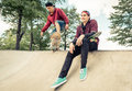 Two skaters practicing Royalty Free Stock Photo