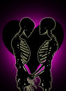 Two skeletons in a tender embrace with a love heart in the background Royalty Free Stock Image