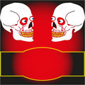 Two skull on a black background the vector image of Royalty Free Stock Photo