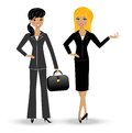 Two slender business woman on white background vector illustration Royalty Free Stock Photography