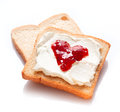Two slices of bread with jam and butter Stock Photography