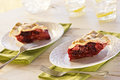 Two Slices of Mixed Berry Pie on Table Royalty Free Stock Photo