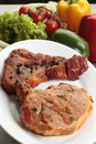 Two slices of raw meat Stock Photo