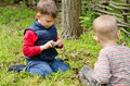 Two small boys lighting a fire in woodland setting to pile of leaves and twigs the grass as they enjoy day camping Stock Image