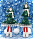 Two small Christmas trees Stock Photo