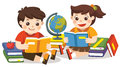 Two small kids holding open books and reading. Isolated vector.