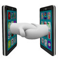 Two Smart Phones Sharing Data Shaking Hands Royalty Free Stock Image