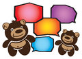 Two smiley cartoon teddy bears conversation vector illustration of brown conversing speech bubbles for text input Royalty Free Stock Photo
