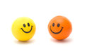 Two smileys this isolated on white background clipping path Stock Photos