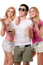 Two smiling blonde woman and young man Royalty Free Stock Photo