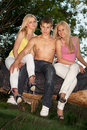 Two smiling blonde and young man Royalty Free Stock Photos