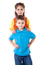 Two smiling children standing together Royalty Free Stock Photo