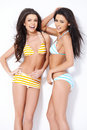 Two smiling girls in swimsuits posing front of camera Stock Images