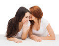 Two smiling girls whispering gossip friendship happiness and people concept Royalty Free Stock Image