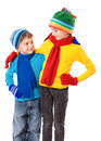 Two smiling kids in winter clothes Stock Photos