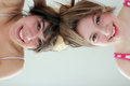Two smiling teen girls having fun Royalty Free Stock Photo
